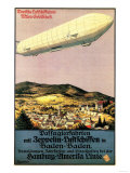 Baden-Baden  Germany - Luftschiff Zeppelin Airship over Town Poster