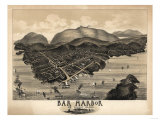 Bar Harbor  Maine - Panoramic Map