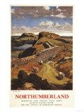 Northumberland  England - Hadrian's Wall and Sheep British Rail Poster
