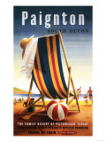 Paignton  England - British Railways Beach Chair and Ball Poster