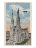 New York  NY - St Patricks Cathedral and Airplane