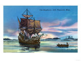 Plymouth  Massachusetts - The Mayflower Landing in 1620 Scene