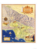 Spanish and Mexican Ranchos of Los Angeles - Panoramic Map