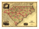North and South Carolina - Panoramic Map