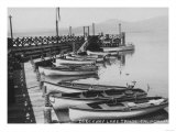 Lake Tahoe  CA - Wooden Boats along Dock Photo
