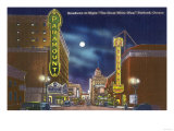 Portland  Oregon - View of Broadway at Night  the Paramount Theatre Scene