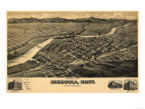 Montana - Panoramic Map of Missoula No 2