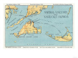 Massachusetts - Detailed Map of Martha&#39;s Vineyard and Nantucket Islands