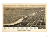 Minneapolis  Minnesota - Panoramic Map