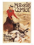 Paris  France - Comiot Motocycles Woman and Geese Promo Poster