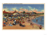 Santa Cruz  CA - Sunbathers & Swimmers on Boardwalk & Beach