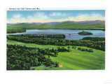 Saranac Lake  New York - Aerial View of Saranac Inn Golf Course and Mountains