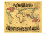 World Map Showing British Empire - Panoramic Map