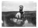 Cheyenne Indian  Wearing Headdress  on Horseback Photograph