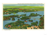 Thousand Islands  New York - Aerial View of the International Bridge