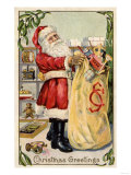 Christmas Greetings - Santa Holding an Overflowing Bag of Toys
