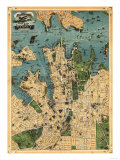Sydney  Australia - Panoramic Map