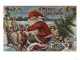 Christmas Greeting - Santa on Sleigh