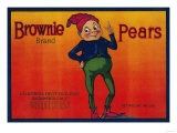 Brownie Pear Crate Label - Sacramento  CA