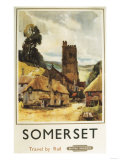 Somerset  England - Historic Village Scene British Railway Poster