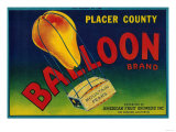 Balloon Pear Crate Label - Los Angeles  CA