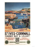 St Ives  England - Harbor Scene with Girl and Gulls Railway Poster