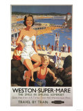 Weston-super-Mare  England - Mother & Son on Beach Railway Poster