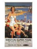 Weston-super-Mare  England - Mother & Son on Beach Railway Poster