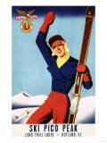 Rutland  Vermont - Flexible Flyer Pin-Up Skiing Girl Promotional Poster