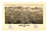 Santa Fe  New Mexico - Panoramic Map