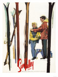 Sun Valley  Idaho - Skis Standing Up in Snow by Couple Poster