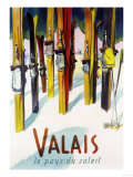 Valais, Switzerland - The Land of Sunshine Reproduction d'art par Lantern Press
