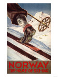 Norway - The Home of Skiing Reproduction d'art par Lantern Press