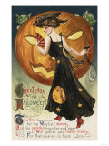Halloween Greeting - Witch Dancing and Pumpkin