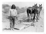 Indian with Mule Drawn Plow Photograph - Arizona