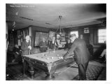 Group of Gentlemen Playing Pool at Billiards Hall Photograph