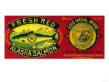 Gold Medal Salmon Can Label - Kodiak Island  AK