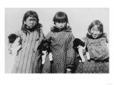 Eskimo Girls with Husky Puppies Photograph - Alaska