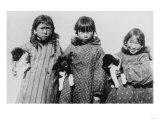 Eskimo Girls with Husky Puppies Photograph - Alaska