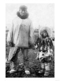 Eskimo Father and Child In Alaska Photograph - Alaska
