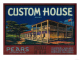 Custom House Pear Crate Label - Monterey  CA