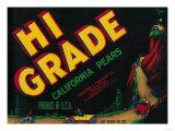 Hi Grade Pear Crate Label - Sacramento  CA