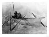 Eskimo in Boat made with Skins called an Omiak Photograph - Alaska