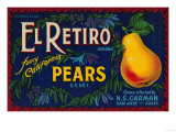 El Retiro Pear Crate Label - San Jose  CA