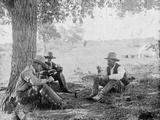 Cowboys Eating Dinner under a Tree Photograph - Texas