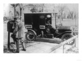Mail Carrier with &quot;United Mail&quot; Automobile Photograph