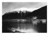 Juneau  Alaska View of Town Mine at Night Photograph - Juneau  AK
