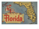 Come to Florida Map of the State  Pin-Up Girl - Florida