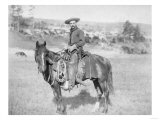 Cowboy on His Horse Photograph - South Dakota