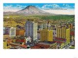 Tacoma Downtown with Mt Rainier - Tacoma  WA